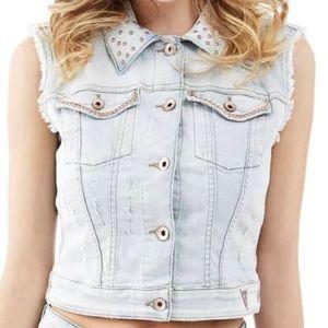 Guess sleeveless Embellished Denim Vest SZ Medium